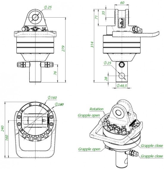 Formiko Professional hydraulic rotator  3 T   FHR 3.000L better then  alternative for rotator Indexator , rotator Baltrotors, rotator finnrotor