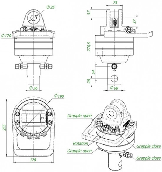 Rotator Formiko FHR 4.500 L68  grapple for scrap metal rotator for scrap Baltrotors Scrap, Indexator Scrap, Indexator crane  Kinshofer scrap