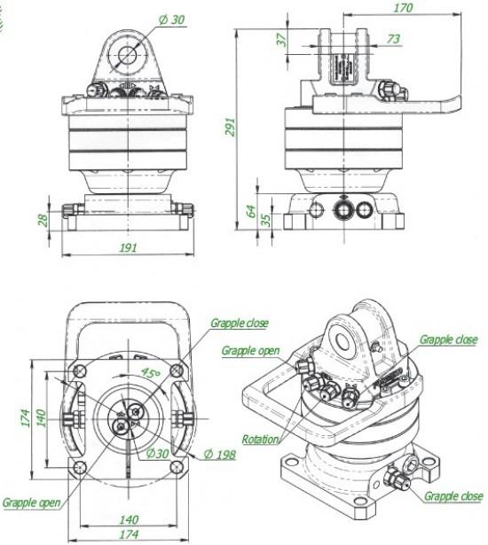Grapple rotators. Rotator Formiko FHR 4500sf-68. alternative for Rotator Baltorotrs GR 46  Rotator Indexator GV4